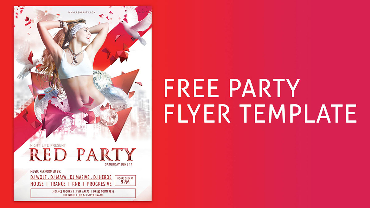 Free Red Party Flyer Template